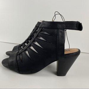 Black Velcro Slingback Heeled Sandals Size 9